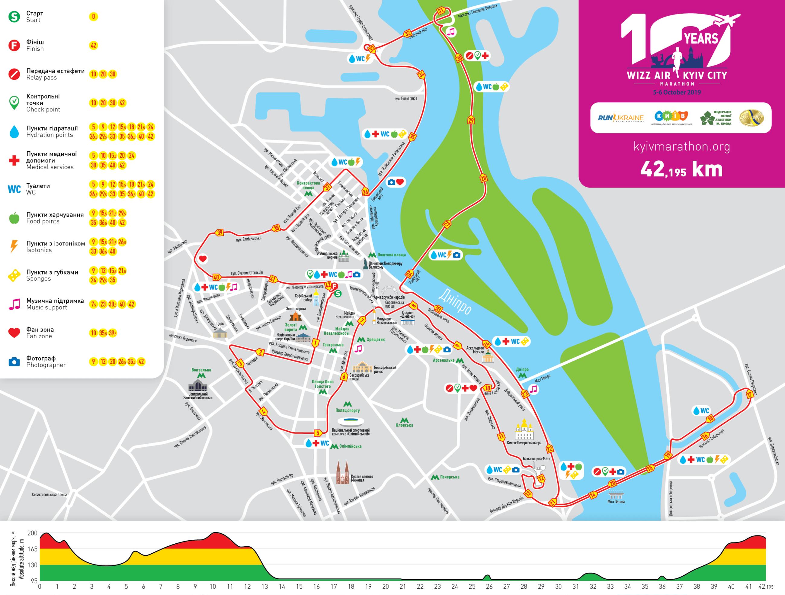 Карта марафону в Києві