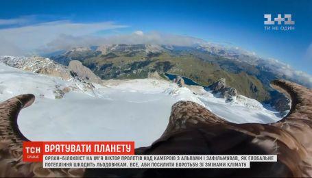 Орел пролетел над Альпами с камерой и снял, как климатические изменения разрушают ледники