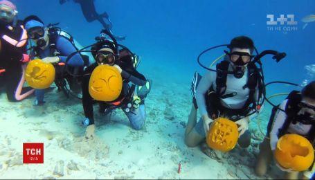 Хэллоуин под водой: дайверы в США устроили конкурс по вырезанию тыкв