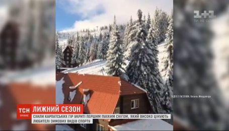 Первый рыхлый снег в Карпатах высоко ценят любители зимних видов спорта