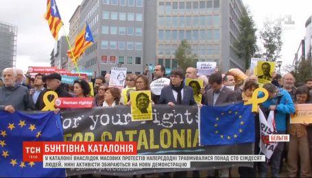 Бывший президент Каталонии Карлес Пучдемон присоединился к акции под Еврокомиссией