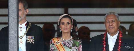 В роскошном платье и бриллиантах: королева Летиция на коронации императора Нарухито