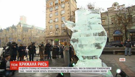 В центре столицы установили 3-метровую ледяную рысь, которая при плюсовой температуре тает