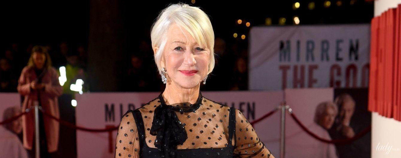 Струнка і красива: 74-річна Гелен Міррен у кокетливій сукні позувала на прем'єрі фільму