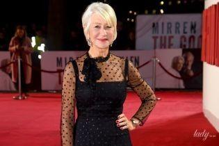 Стройная и красивая: 74-летняя Хелен Миррен в кокетливом платье позировала на премьере фильма