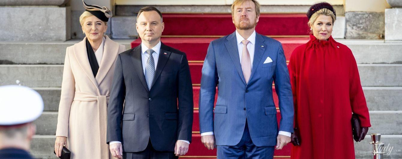Затьмарила першу леді Польщі: королева Максима на вітальній церемонії з'явилася в червоному пальті