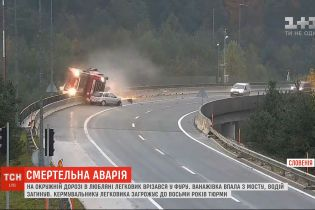 Смертельна аварія у Словенії: на окружній дорозі в Любляні легковик врізався у фуру