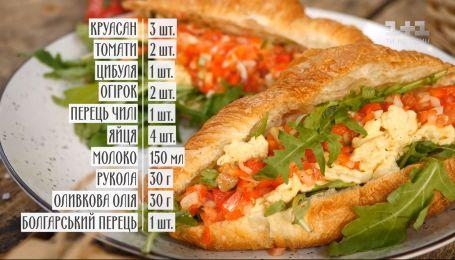 Круасан з омлетом та овочами - рецепти Руслана Сенічкіна