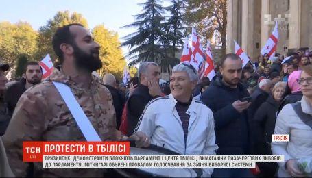 В Грузии демонстранты пытаются заставить власти провести досрочные парламентские выборы