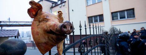 """З відрубаною свинячою головою на паркані: у Вінниці """"Нацдружини"""" побилися з поліцією"""