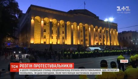 Сотни спецназначенцев пытались оттеснить протестующих под грузинским парламентом