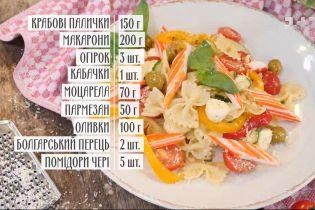 Салат із пасти, овочів і крабових паличок – рецепти Руслана Сенічкіна