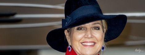 В красном пальто и красивом платье: эффектный выход нидерландской королевы Максимы