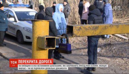У лісі на Київщині встановили шлагбауми – обурені селяни вимагають їх прибрати