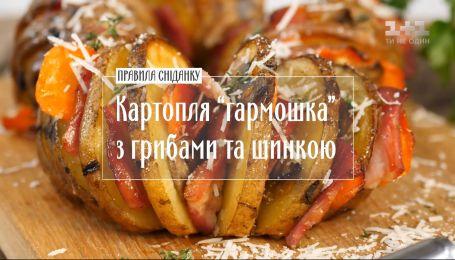 """Картофель """"гармошка"""" с грибами и ветчиной - Правила завтрака"""
