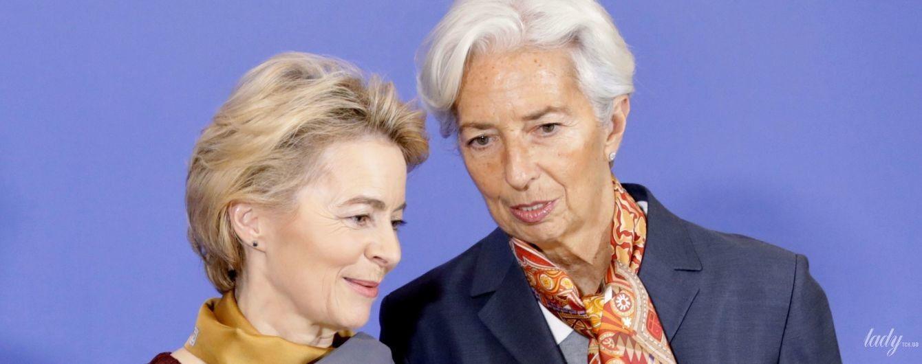 Стильные дамы-политики: фон дер Ляйен в кружевном платье, Лагард в деловом костюме