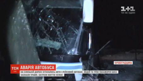 На Кіровоградщині через слизьку трасу в ДТП потрапив автобус з пасажирами