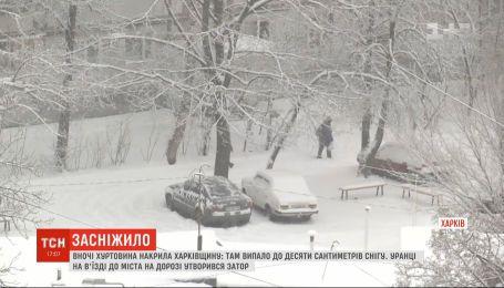 В многие регионы Украины пришли первые мощные метели и гололедица