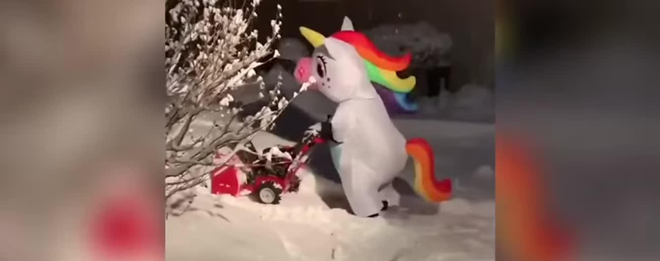 Сеть смешит видео с женщиной в костюме единорога, которая убирает снег