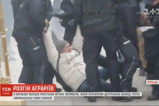 Польская полиция паковала в автозаки и била дубинками фермеров, которые вышли на протест