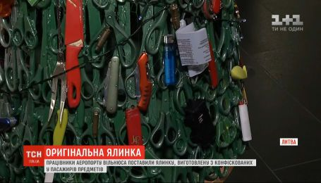 Работники литовского аэропорта создали елку из конфискованных у пассажиров предметов