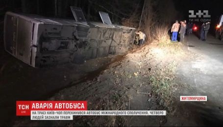 Пасажирський автобус злетів у кювет біля Новоград-Волинського: 4 особи зазнали травм