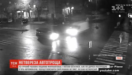 В Ровно мужчина украл машину и разбил на ней еще пять автомобилей