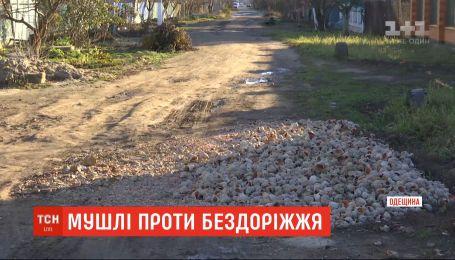 Морскими ракушками засыпали ямы на дороге в одном из райцентров Одесской области