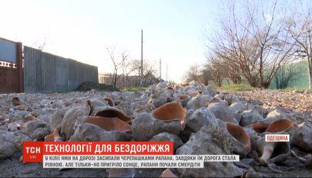 В Килие ямы на дороге засыпали ракушками рапана, которые воняют из-за теплой погоды