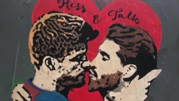 Графіті Піке - Рамос поцілунок