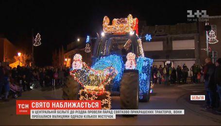 В Бельгии к Рождеству провели парад празднично украшенных тракторов