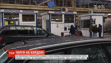 Сотни автомобилей скопились с польской стороны на въезд в Украину