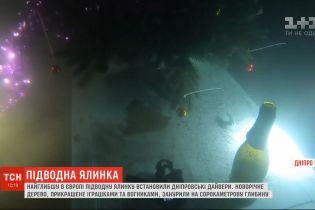 Традиционную подводную елку установили дайверы в Днепре