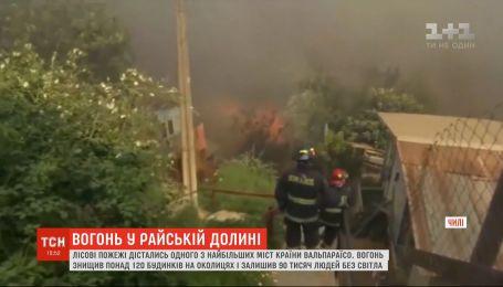Лесные пожары бушуют в одном из крупнейших городов Чили