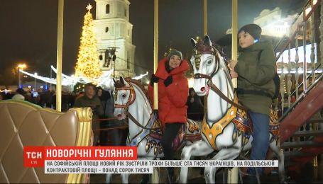 Более ста тысяч украинцев встретили Новый год на Софийской площади