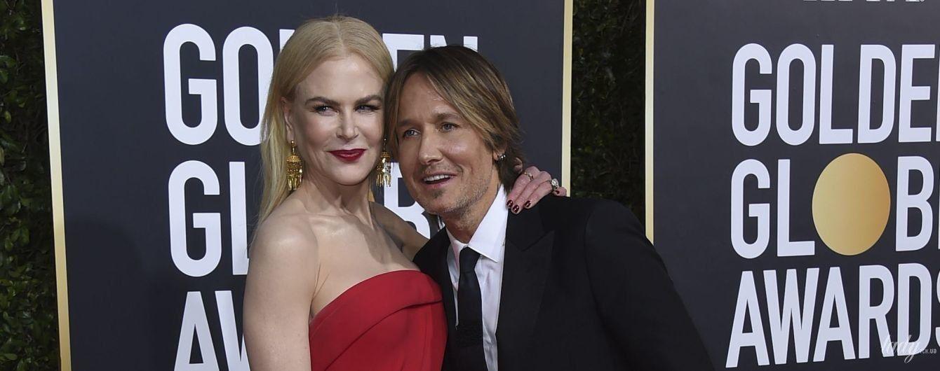 """З чоловіком і в елегантній сукні з високим розрізом: Ніколь Кідман на червоній доріжці """"Золотого глобуса"""""""