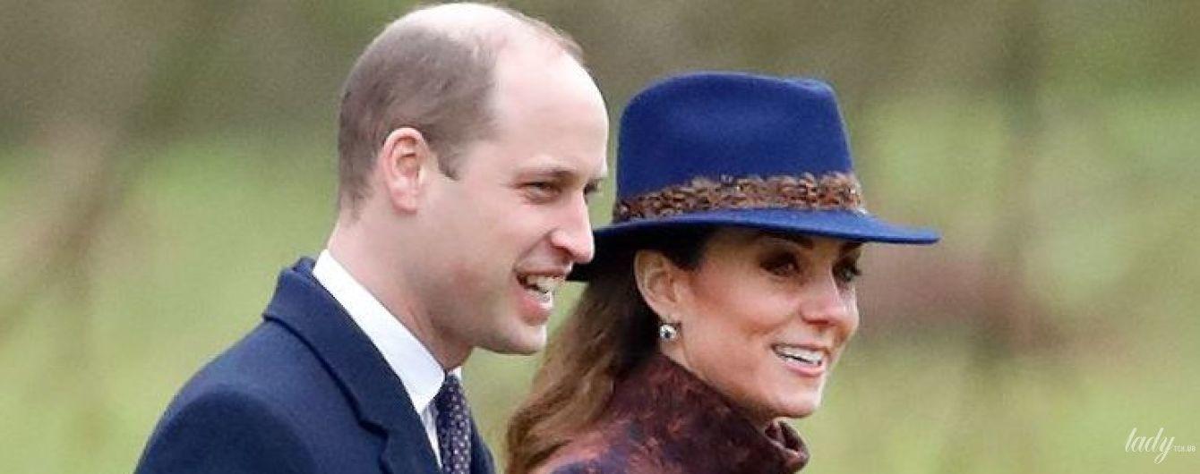 У новому пальті та з сапфірами у вухах: герцогиня Кембриджська з чоловіком сходили на службу