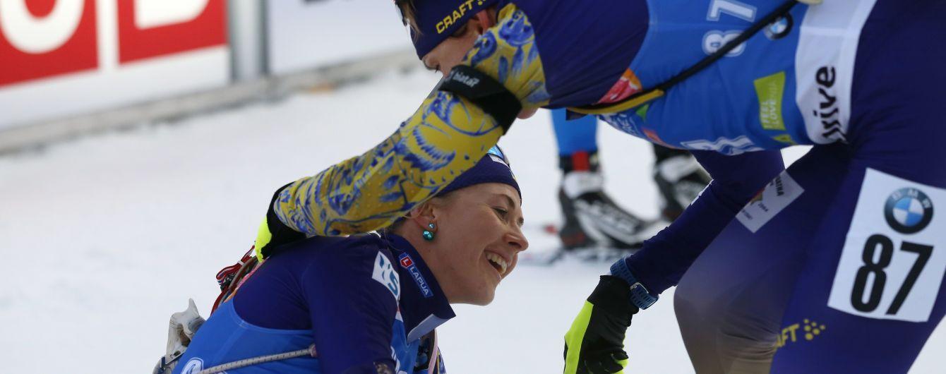 Женская сборная Украины по биатлону попала в цветочную церемонию в эстафете на Кубке мира