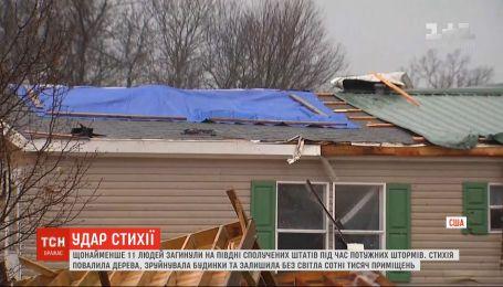По меньшей мере 11 человек погибли во время мощных штормов на юге США