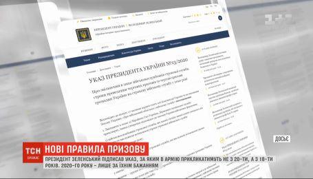 Президент підписав указ, за яким в армію призиватимуть не з 20, а з 18 років