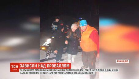 Авария подъемника в Славском: чрезвычайники сняли с кресельного подъемника 35 человек