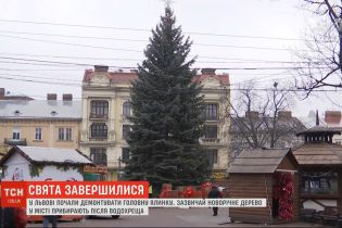 Свята завершилися: у Львові почали демонтувати головну ялинку