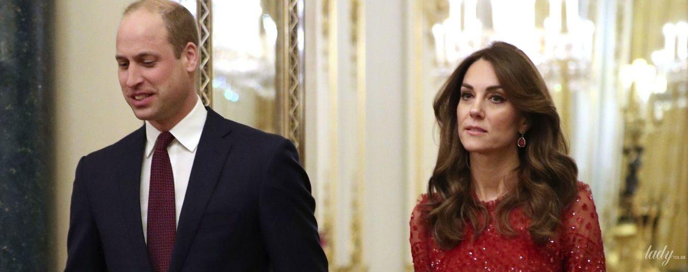 В алом платье за 635 долларов: герцогиня Кембриджская на приеме в Букингемском дворце