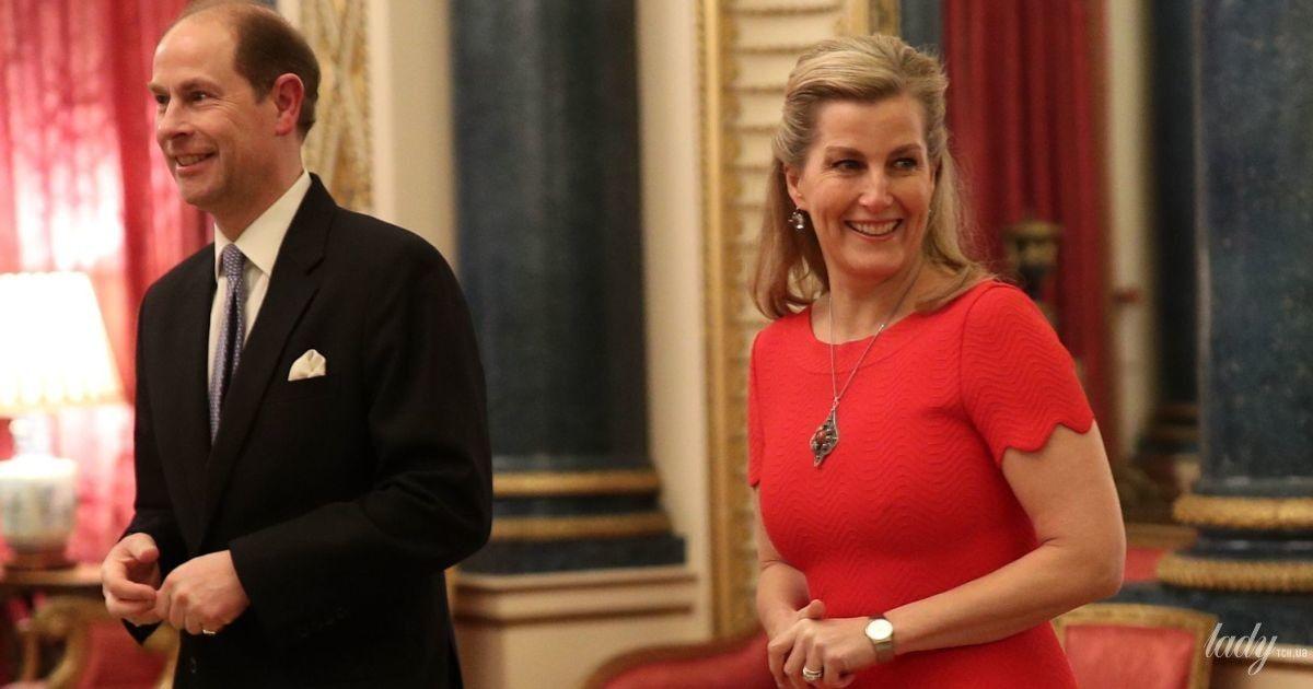 Красивая именинница: графиня Уэссекская Софи составила компанию герцогине Кембриджской на приеме во дворце