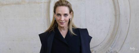 В кюлотах Dior и в компании сына: Ума Турман на модном шоу в Париже