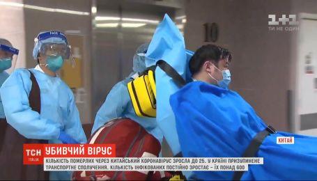 До 25 зросла кількість померлих у Китаї через смертельний коронавірус
