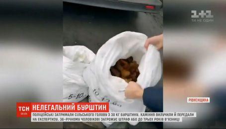 Сільського голову з трьома мішками бурштину спіймали поліцейські на Рівненщині