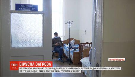 В стационарах житомирской и тернопольской больниц не хватает мест для всех больных гриппом