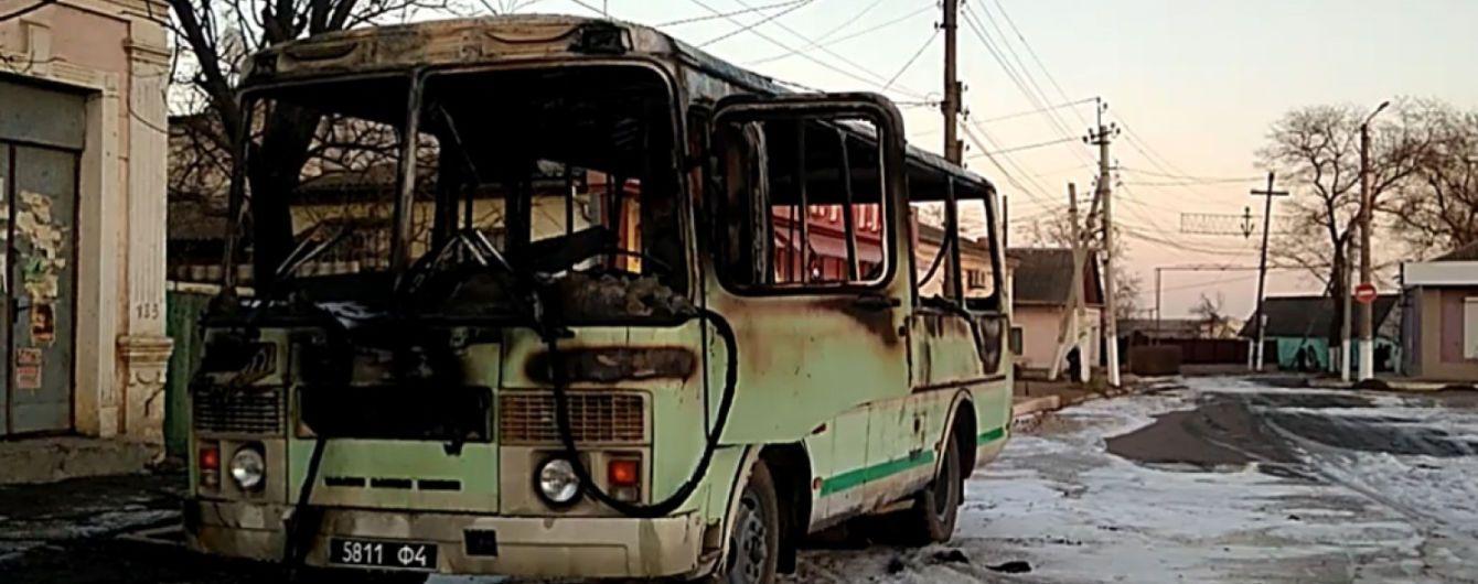 В Одесской области сгорел автобус Нацгвардии