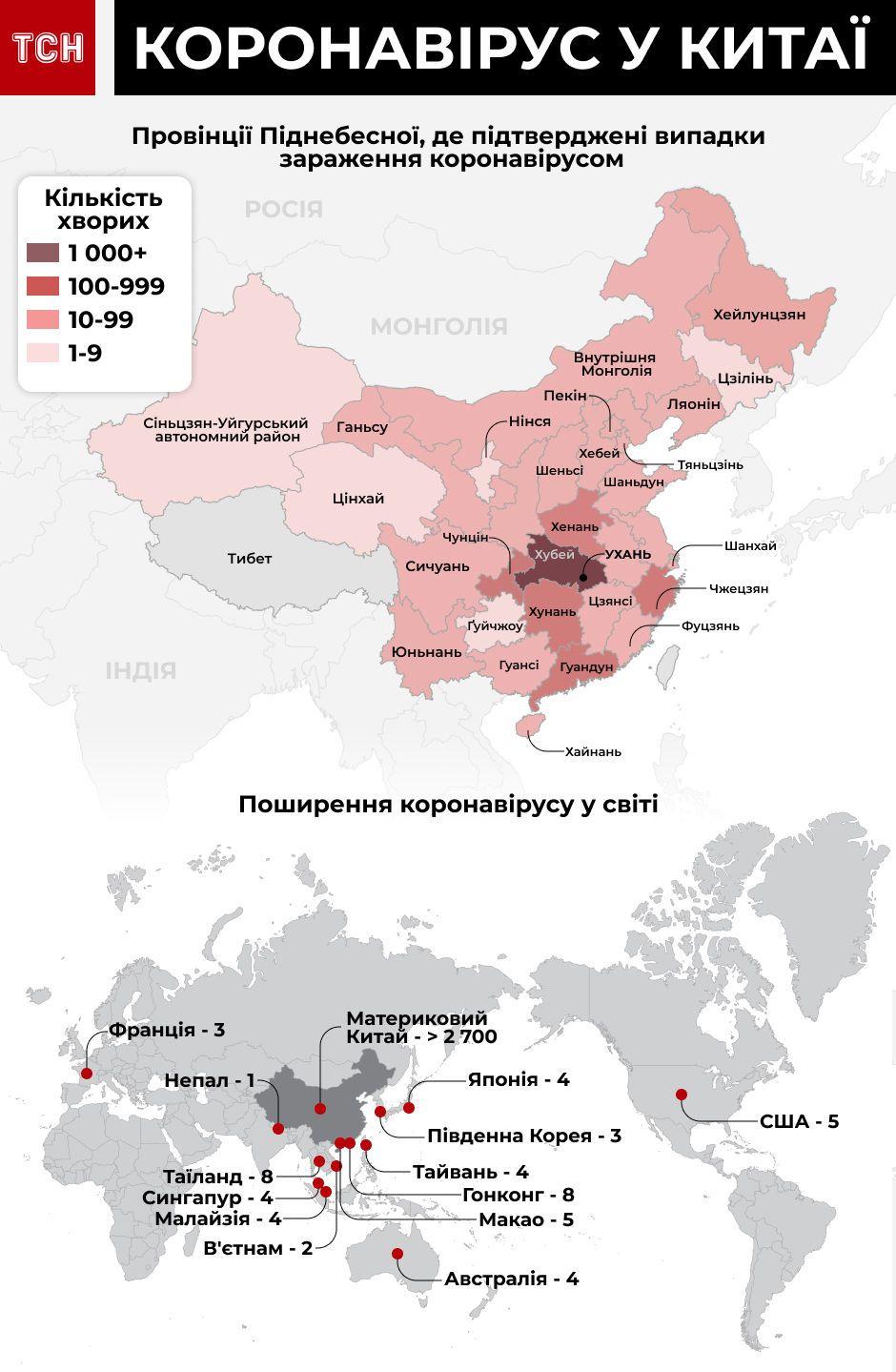 Розповсюдження коронавірусу в світі, вірус у Китаї, оновлена інфографіка 27 січня
